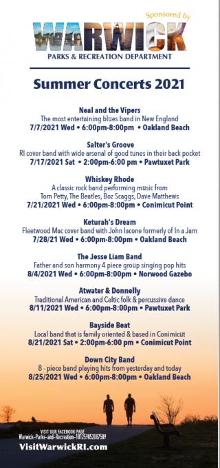 2021 Warwick Parks & Recreation Summer Concert Series